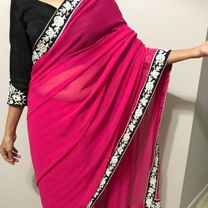 Pink & black saree